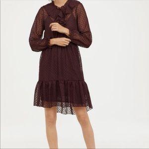 NWT H&M Burgundy Flounce Dress- size 6